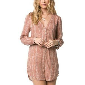 AMUSE SOCIETY Roxanne Pink Snakeskin Button Romper